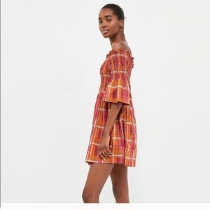 Zara 🏵 Plaid Smocked Off-Shoulder Dress